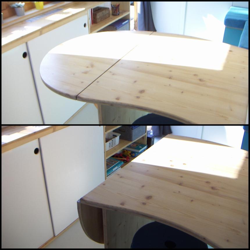 table fixe avec rallonge pliante dans la cuisine